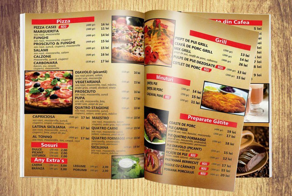 Grafica Meniu Restaurant - Bar - Casa Vulturul Brasov