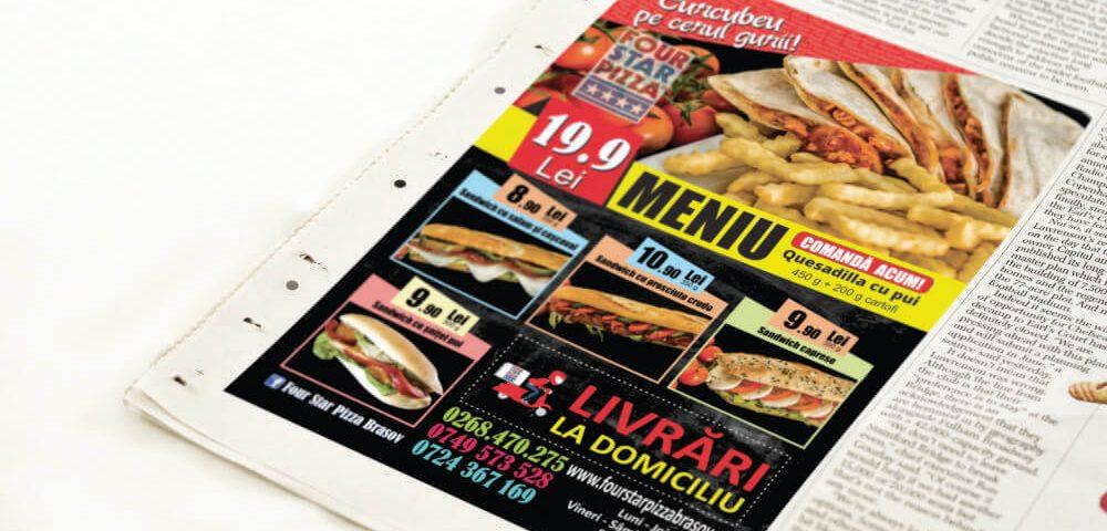 Flyer Fast Food - Four Star Pizza Brasov - livrare mancare la domiciliu 1