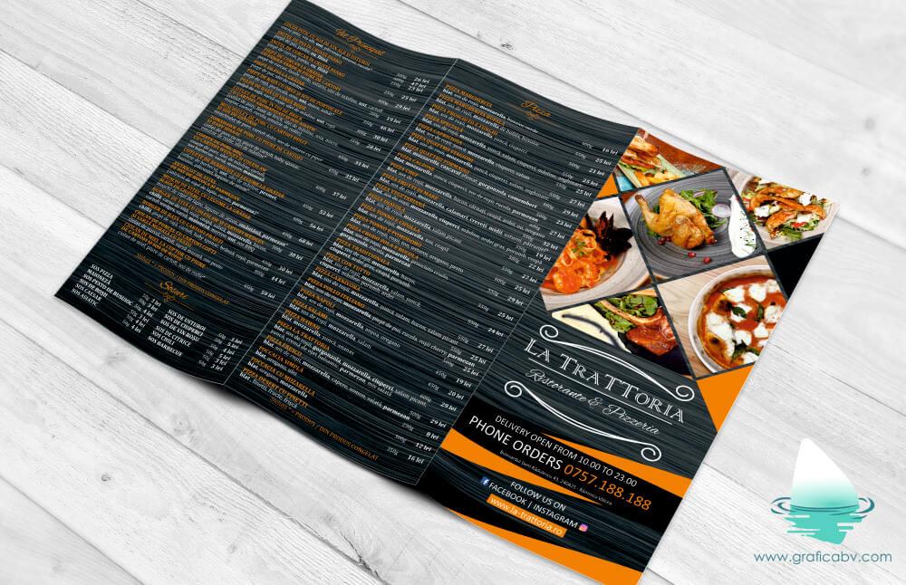 Pliant trifold Restaurant Trattoria