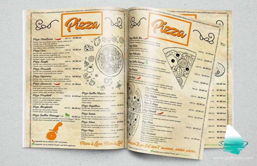 Design meniu Pizzeria Cora Timisoara